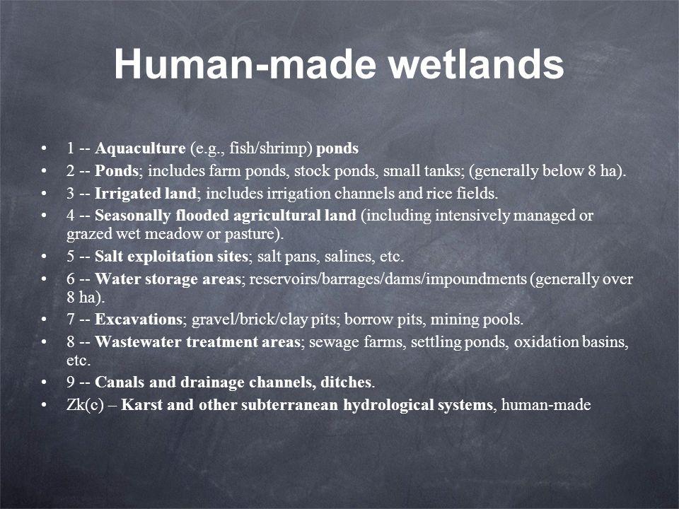 Human-made wetlands 1 -- Aquaculture (e.g., fish/shrimp) ponds 2 -- Ponds; includes farm ponds, stock ponds, small tanks; (generally below 8 ha). 3 --
