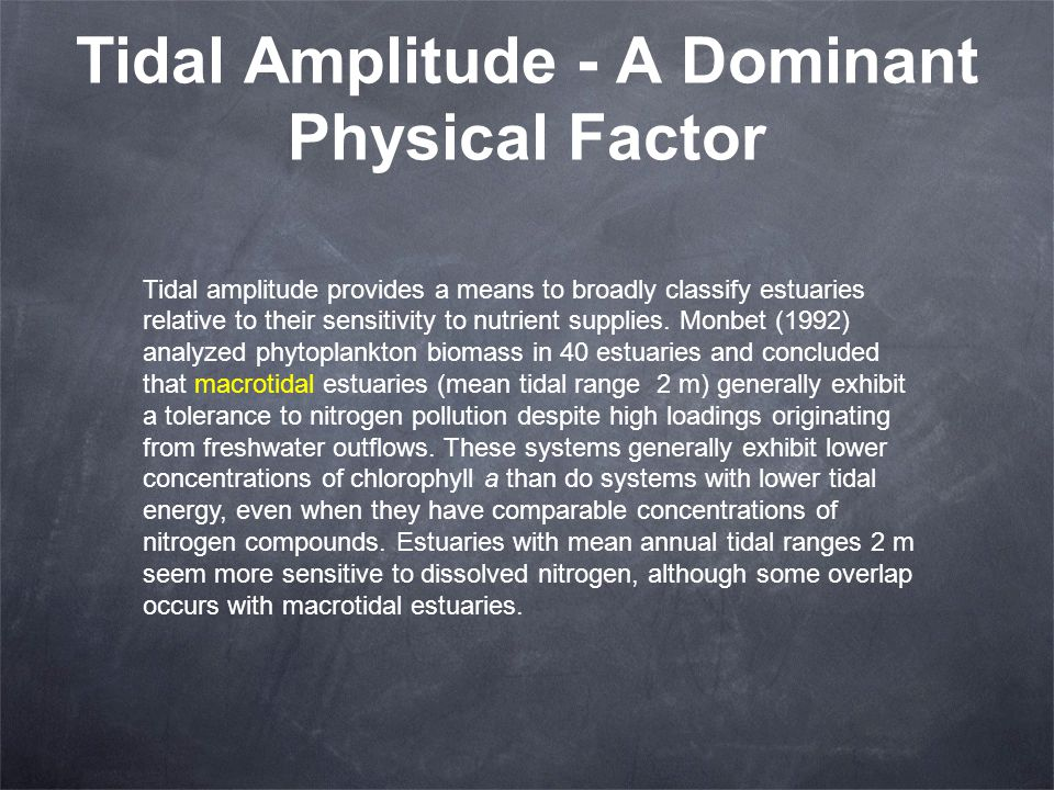 Tidal Amplitude - A Dominant Physical Factor Tidal amplitude provides a means to broadly classify estuaries relative to their sensitivity to nutrient