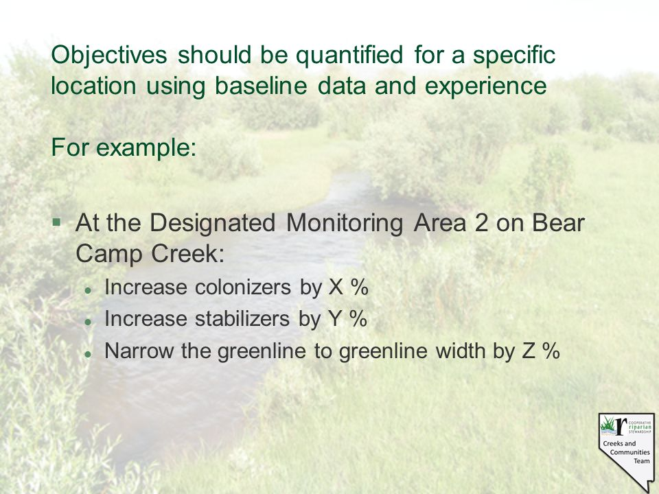 Objectives should be quantified for a specific location using baseline data and experience For example: §At the Designated Monitoring Area 2 on Bear Camp Creek: l Increase colonizers by X % l Increase stabilizers by Y % l Narrow the greenline to greenline width by Z %