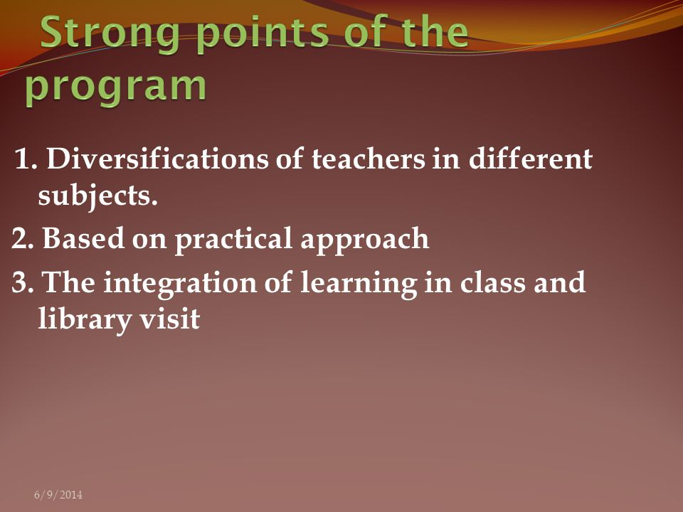 1. Diversifications of teachers in different subjects.