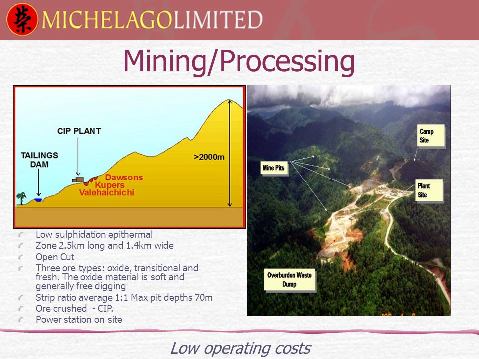 Mining/Processing Low operating costs Low sulphidation epithermal Zone 2.5km long and 1.4km wide Open Cut Three ore types: oxide, transitional and fresh.