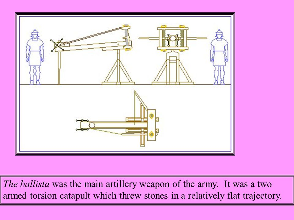 The ballista was the main artillery weapon of the army.