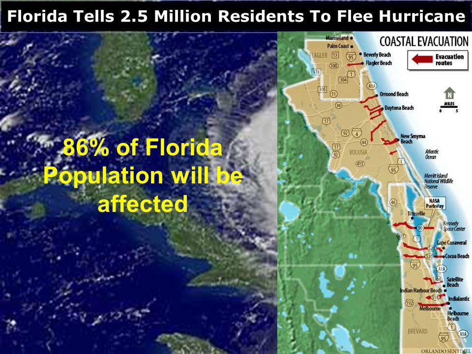 Florida Tells 2.5 Million Residents To Flee Hurricane 86% of Florida Population will be affected