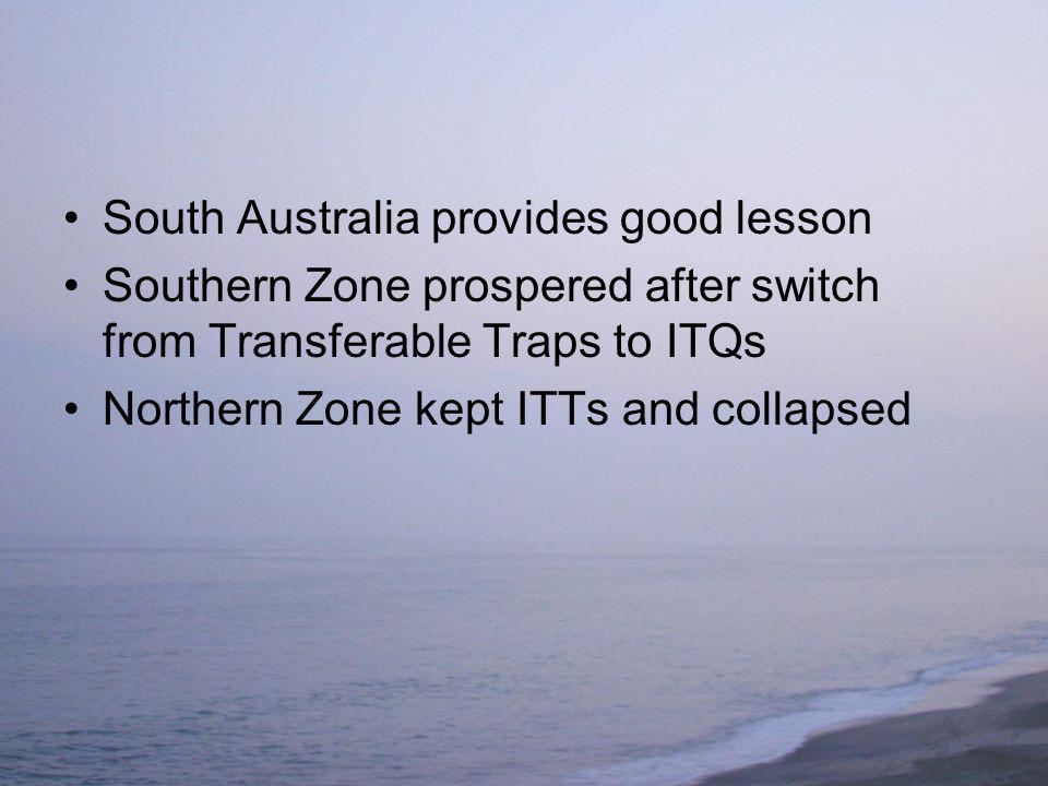 South Australia provides good lesson Southern Zone prospered after switch from Transferable Traps to ITQs Northern Zone kept ITTs and collapsed