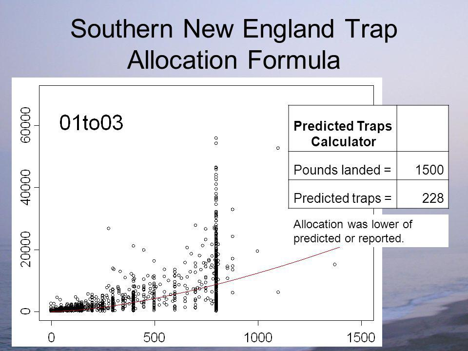 Southern New England Trap Allocation Formula Predicted Traps Calculator Pounds landed =1500 Predicted traps =228 Allocation was lower of predicted or reported.
