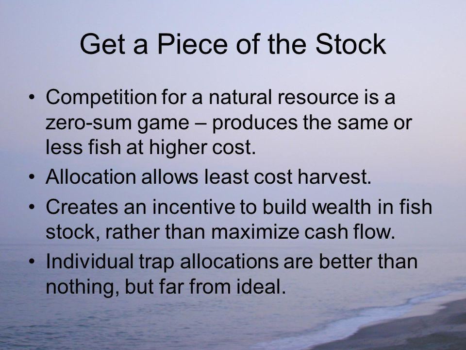 Get a Piece of the Stock Competition for a natural resource is a zero-sum game – produces the same or less fish at higher cost.