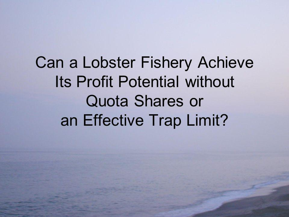 Can a Lobster Fishery Achieve Its Profit Potential without Quota Shares or an Effective Trap Limit?