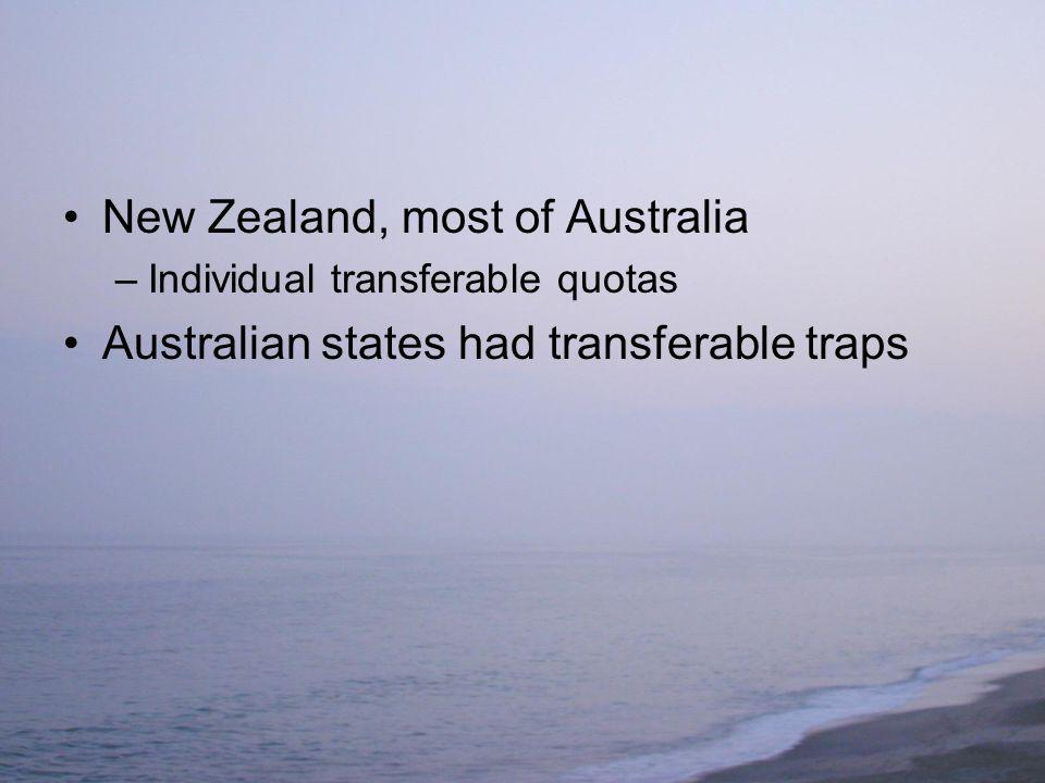 New Zealand, most of Australia –Individual transferable quotas Australian states had transferable traps