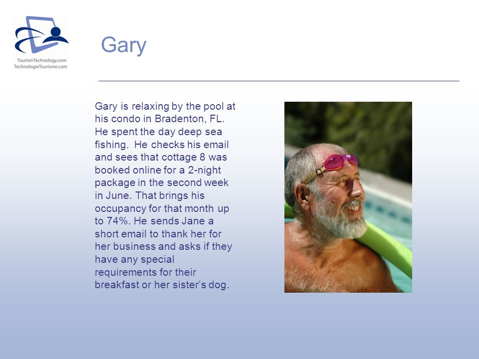 Gary Gary is relaxing by the pool at his condo in Bradenton, FL. He spent the day deep sea fishing. He checks his email and sees that cottage 8 was bo