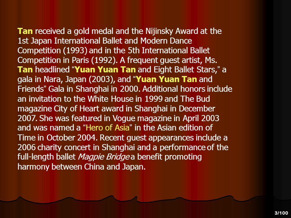 2/100 Yuan Yuan Tan, born in Shanghai, China, trained at Shanghai Dancing School and Stuttgarts John Cranko School. She joined San Francisco Ballet as