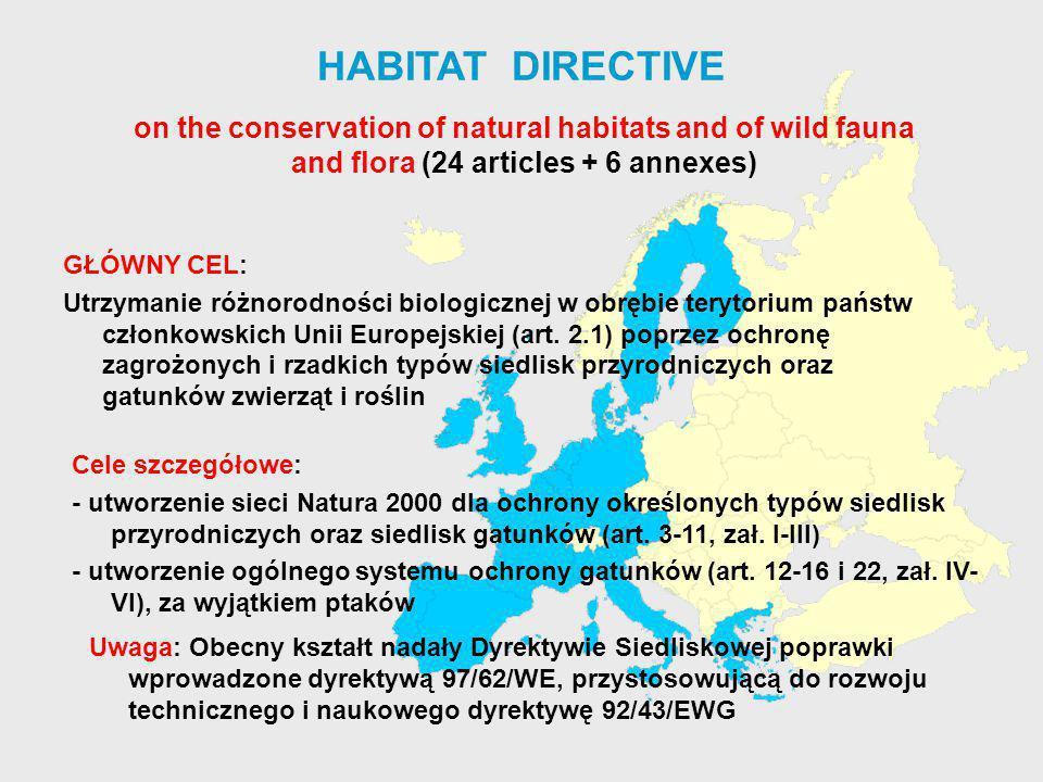 HABITAT DIRECTIVE GŁÓWNY CEL: Utrzymanie różnorodności biologicznej w obrębie terytorium państw członkowskich Unii Europejskiej (art. 2.1) poprzez och