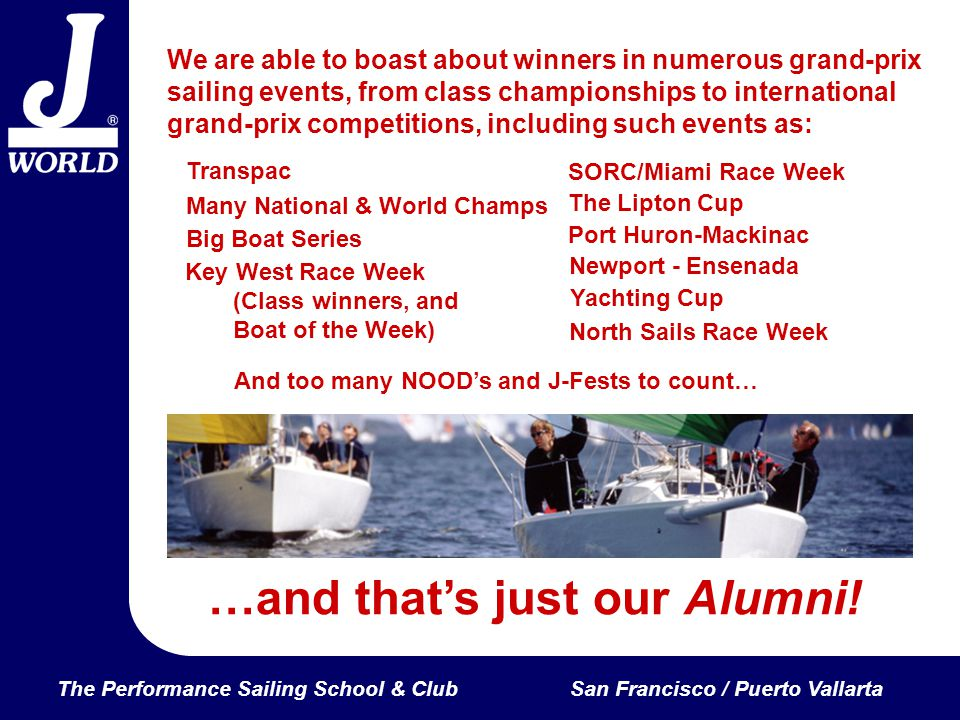 The Performance Sailing School & ClubSan Francisco / Puerto Vallarta We are able to boast about winners in numerous grand-prix sailing events, from class championships to international grand-prix competitions, including such events as: …and thats just our Alumni.