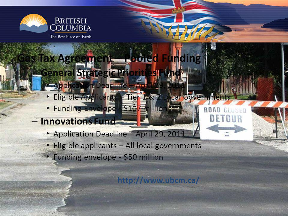 Gas Tax Agreement – Pooled Funding – General Strategic Priorities Fund Application Deadline – April 29, 2011 Eligible Applicants – Tier 1 & 2 Local Governments Funding Envelope - $107 million – Innovations Fund Application Deadline – April 29, 2011 Eligible applicants – All local governments Funding envelope - $50 million http://www.ubcm.ca/