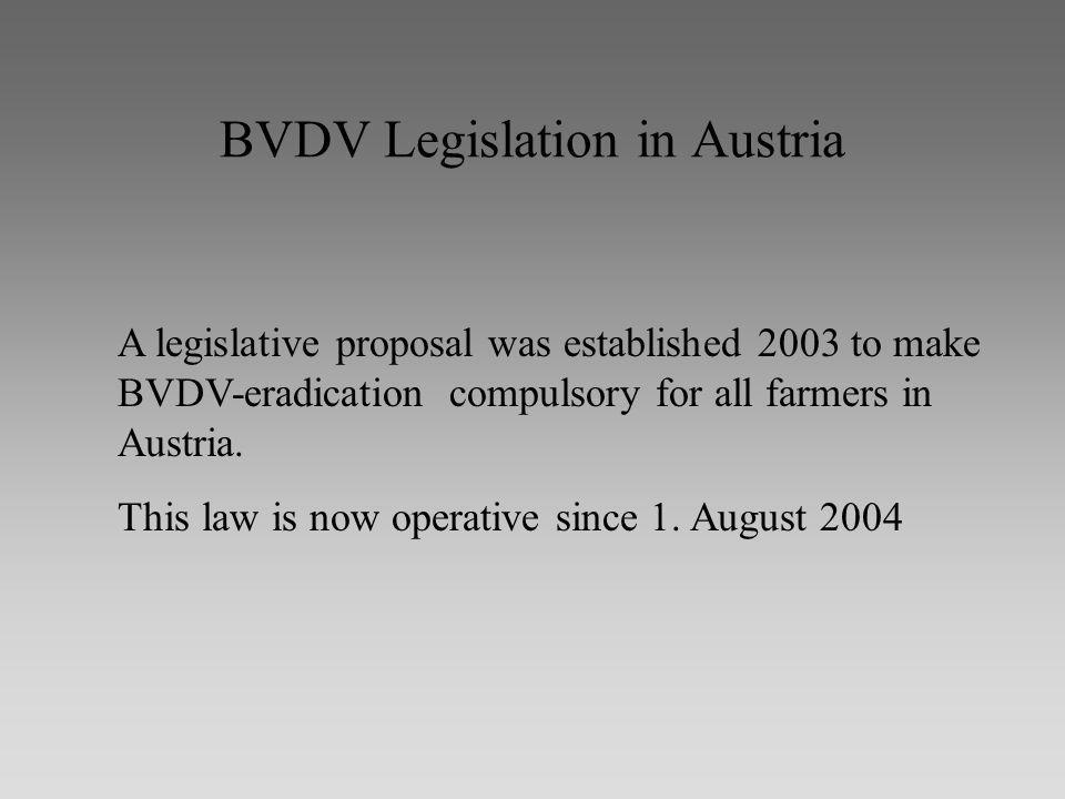 BVDV Legislation in Austria A legislative proposal was established 2003 to make BVDV-eradication compulsory for all farmers in Austria.