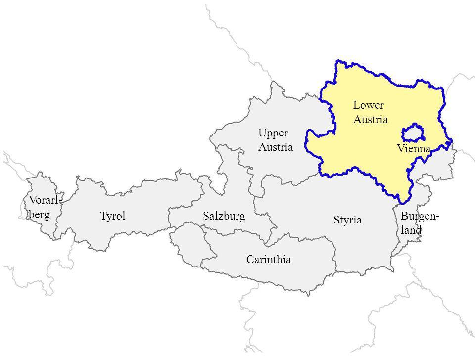Lower Austria Upper Austria Styria Carinthia TyrolSalzburg Vorarl- berg Burgen- land Vienna