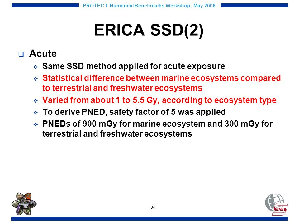34 PROTECT: Numerical Benchmarks Workshop, May 2008 ERICA SSD(2) Acute Same SSD method applied for acute exposure Statistical difference between marine ecosystems compared to terrestrial and freshwater ecosystems Varied from about 1 to 5.5 Gy, according to ecosystem type To derive PNED, safety factor of 5 was applied PNEDs of 900 mGy for marine ecosystem and 300 mGy for terrestrial and freshwater ecosystems