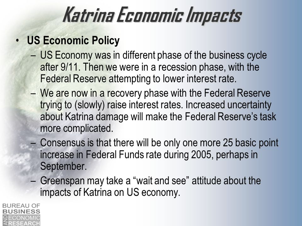 Katrina Economic Impacts US Economic Policy –US Economy was in different phase of the business cycle after 9/11.
