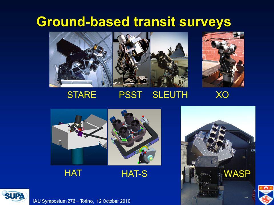 IAU Symposium 276 -- Torino, 12 October 2010 Ground-based transit surveys STAREPSSTSLEUTH HAT XO HAT-SWASP