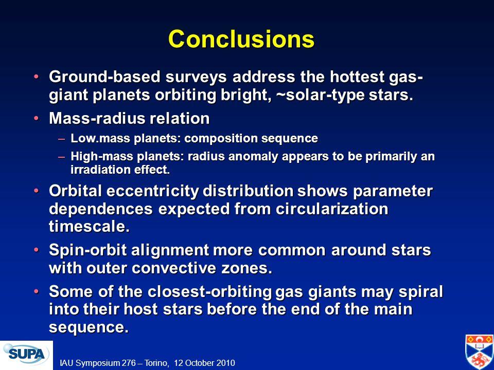 IAU Symposium 276 -- Torino, 12 October 2010 Conclusions Ground-based surveys address the hottest gas- giant planets orbiting bright, ~solar-type stars.Ground-based surveys address the hottest gas- giant planets orbiting bright, ~solar-type stars.