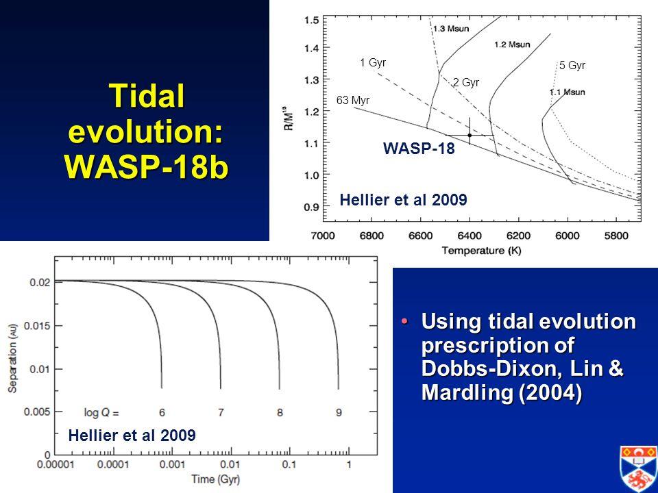 IAU Symposium 276 -- Torino, 12 October 2010 Tidal evolution: WASP-18b Using tidal evolution prescription of Dobbs-Dixon, Lin & Mardling (2004)Using tidal evolution prescription of Dobbs-Dixon, Lin & Mardling (2004) 63 Myr 1 Gyr 2 Gyr 5 Gyr Hellier et al 2009 WASP-18 Hellier et al 2009