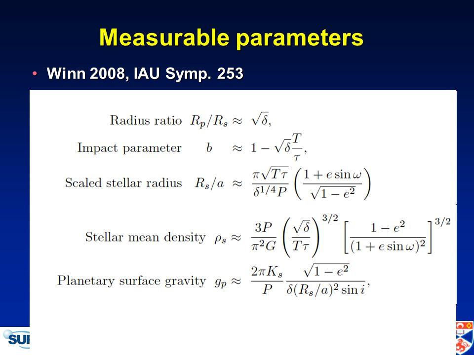 IAU Symposium 276 -- Torino, 12 October 2010 Measurable parameters Winn 2008, IAU Symp.