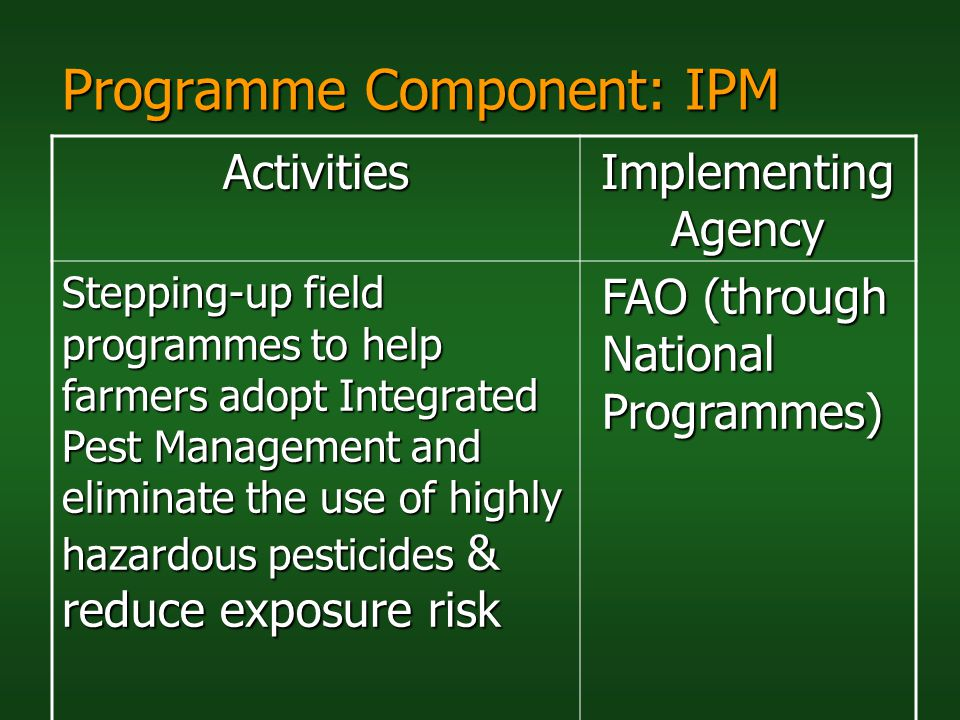 Programme Component: IPM Activities Implementing Agency Stepping-up field programmes to help farmers adopt Integrated Pest Management and eliminate th