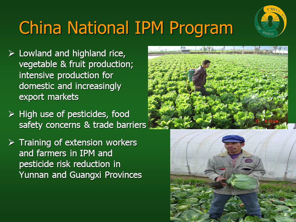 China National IPM Program Lowland and highland rice, vegetable & fruit production; intensive production for domestic and increasingly export markets