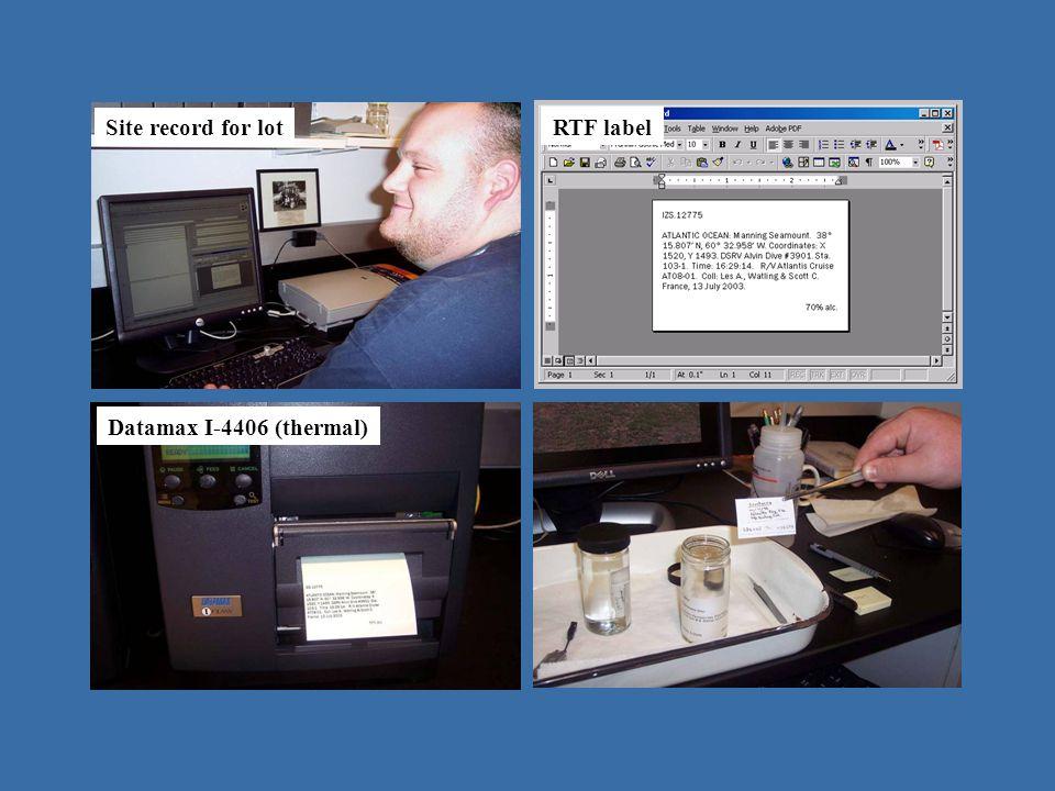 operating in Emu - IZ Site record for lot RTF label Datamax I-4406 (thermal)