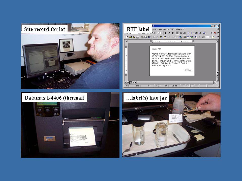 operating in Emu - IZ Site record for lot RTF label Datamax I-4406 (thermal)…label(s) into jar