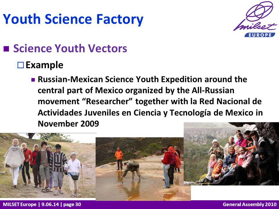 MILSET Europe | 9.06.14 | page 30 Science Youth Vectors Example Russian-Mexican Science Youth Expedition around the central part of Mexico organized b