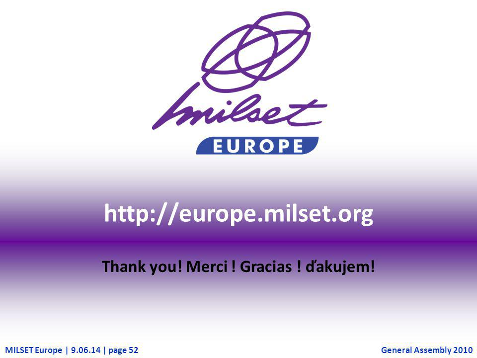 MILSET Europe | 9.06.14 | page 52 http://europe.milset.org Thank you! Merci ! Gracias ! ďakujem! General Assembly 2010