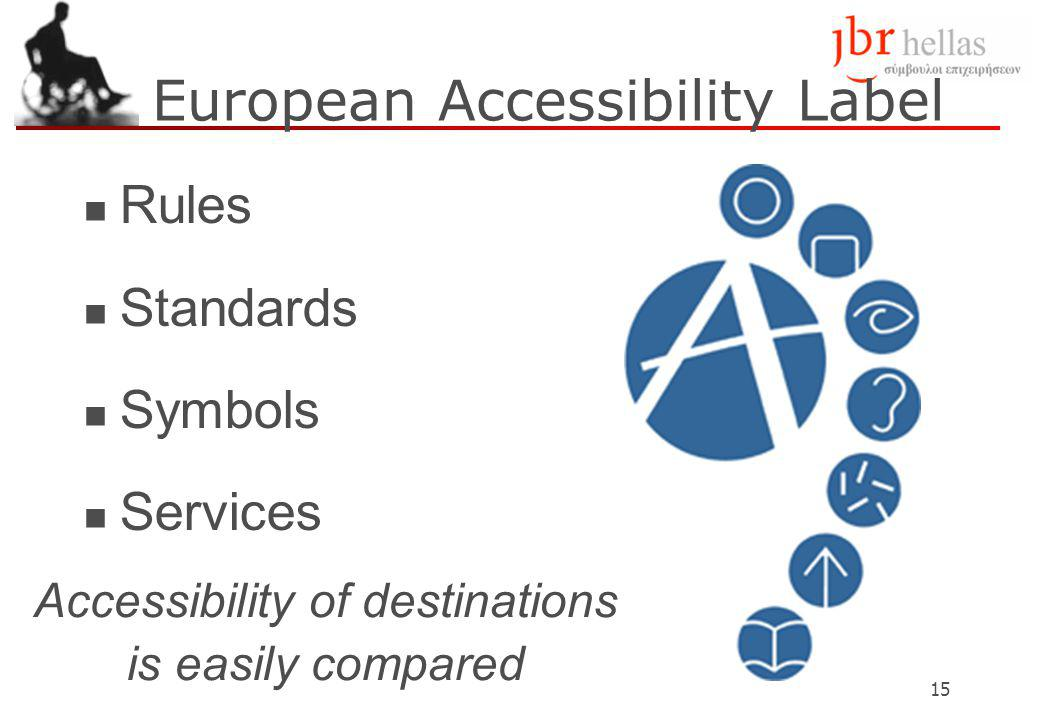 15 European Accessibility Label Rules Standards Symbols Services Accessibility of destinations is easily compared