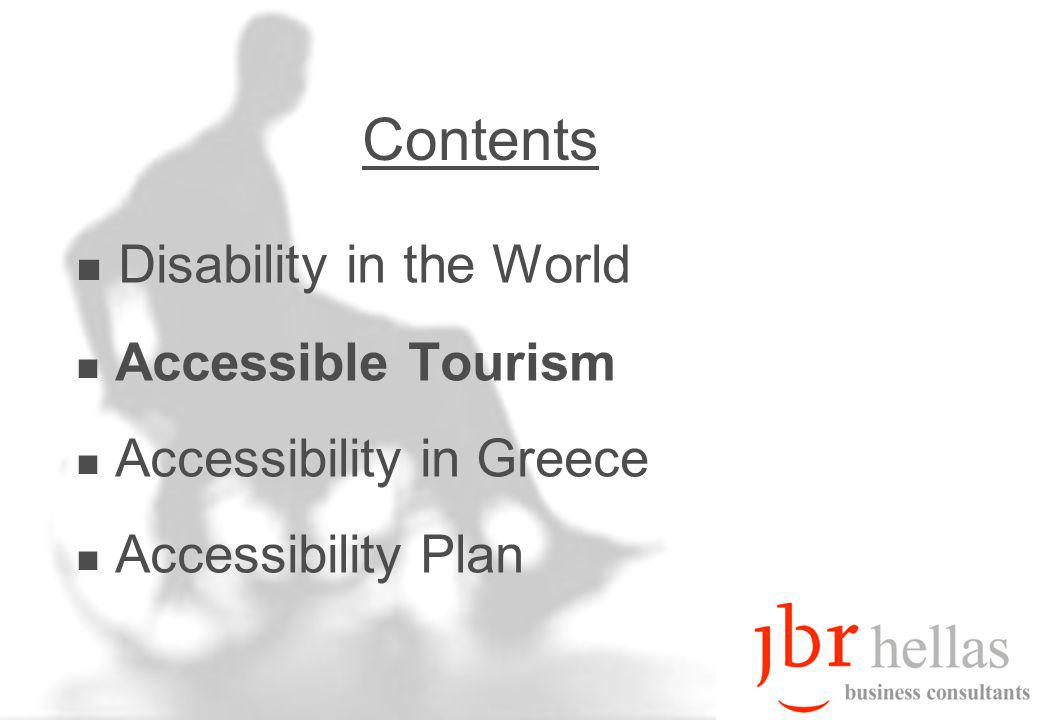 6 Disability & Tourism Many disabled have medium / high income Vacation Packages provided by Social Security 50% of disabled would travel more if services were provided to them Disabled in US (Open Doors Organization-Harris Interactive Study) –By 2030, they will increase by 30 mln.
