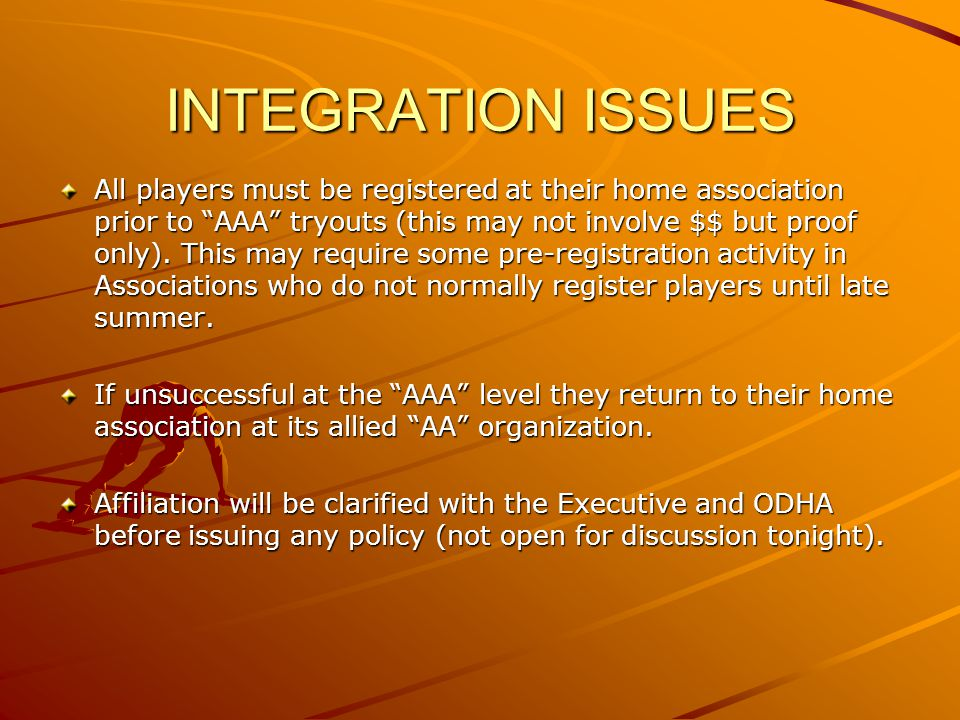 INTEGRATION ISSUES All players must be registered at their home association prior to AAA tryouts (this may not involve $$ but proof only).