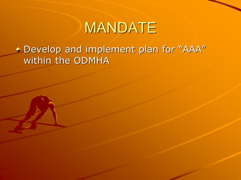 MANDATE Develop and implement plan for AAA within the ODMHA