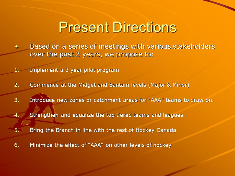 Present Directions Based on a series of meetings with various stakeholders over the past 2 years, we propose to: 1.Implement a 3 year pilot program 2.Commence at the Midget and Bantam levels (Major & Minor) 3.Introduce new zones or catchment areas for AAA teams to draw on.