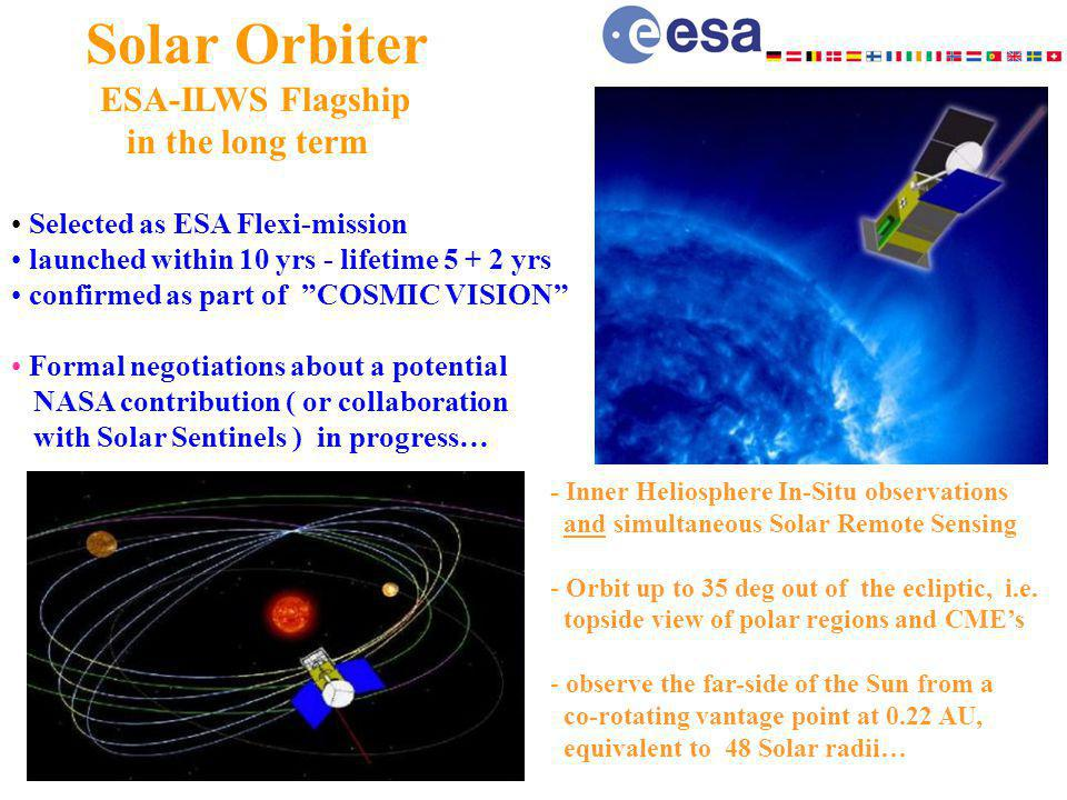 Solar Orbiter ESA-ILWS Flagship in the long term Selected as ESA Flexi-mission launched within 10 yrs - lifetime 5 + 2 yrs confirmed as part of COSMIC VISION Formal negotiations about a potential NASA contribution ( or collaboration with Solar Sentinels ) in progress… - Inner Heliosphere In-Situ observations and simultaneous Solar Remote Sensing - Orbit up to 35 deg out of the ecliptic, i.e.