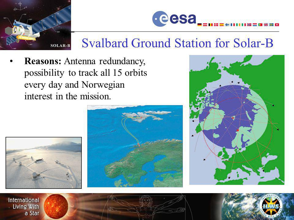 Hermann.Opgenoorth@esa.int Reasons: Antenna redundancy, possibilityto track all 15 orbits every day and Norwegian interest in the mission. Svalbard Gr