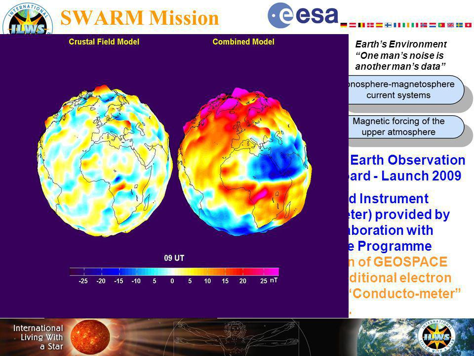 Earths Interior - Baseline mission Earths Environment One mans noise is another mans data SWARM Mission Living Planet ESA - EOP Selected by Earth Observation Program Board - Launch 2009 Electric Field Instrument (Ion Drift Meter) provided by CSA in collaboration with ESA Science Programme Optimisation of GEOSPACE science - additional electron instrument Conducto-meter discussed…