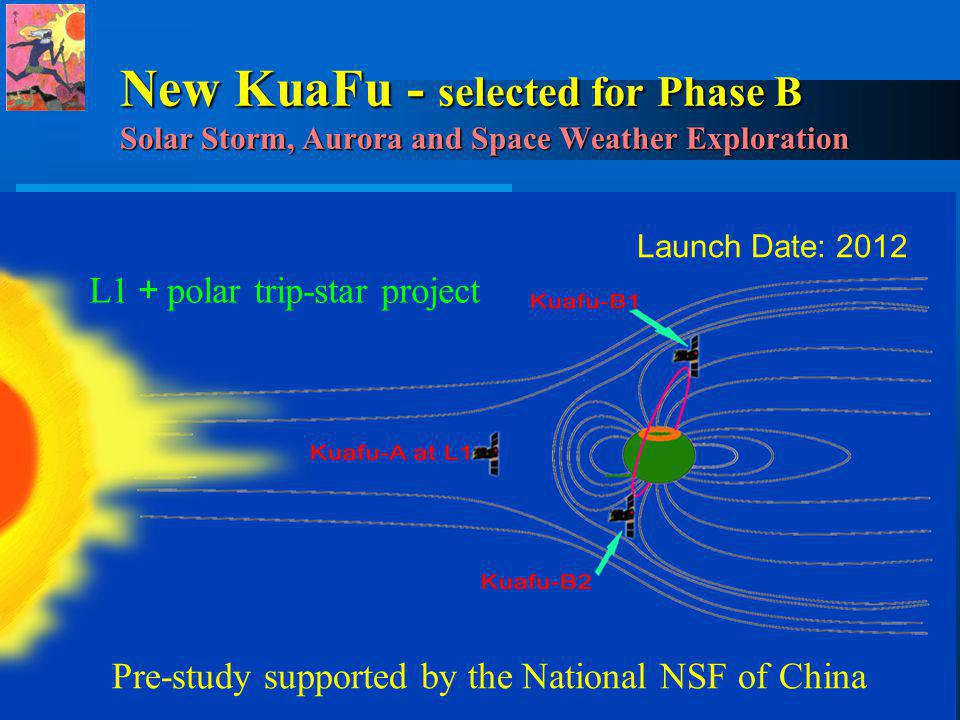 L1 polar trip-star project New KuaFu - selected for Phase B Solar Storm, Aurora and Space Weather Exploration Launch Date: 2012 Pre-study supported by the National NSF of China