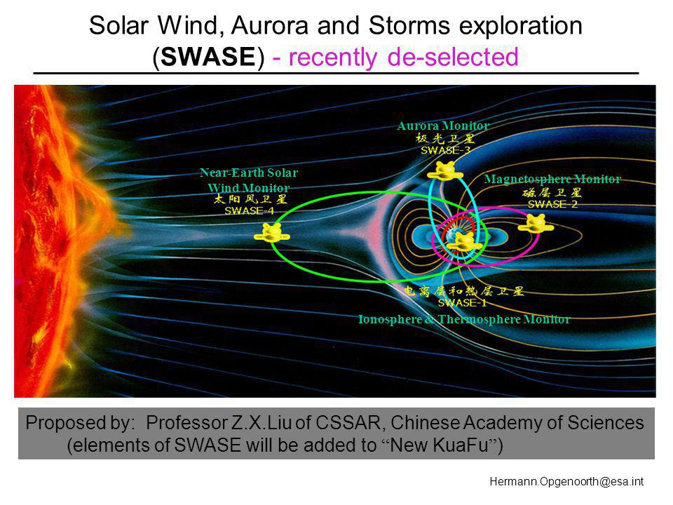 Hermann.Opgenoorth@esa.int Solar Wind, Aurora and Storms exploration (SWASE) - recently de-selected Near-Earth Solar Wind Monitor Aurora Monitor Magnetosphere Monitor Ionosphere & Thermosphere Monitor Proposed by: Professor Z.X.Liu of CSSAR, Chinese Academy of Sciences (elements of SWASE will be added to New KuaFu )