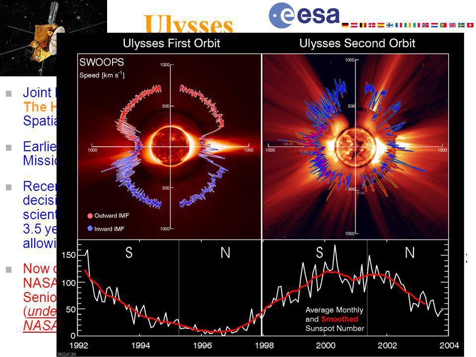 Ulysses n Joint ESA-NASA Mission The Heliosphere in 4-D : Spatial 3-D and Time n Earlier anticipated end of Mission: 30.