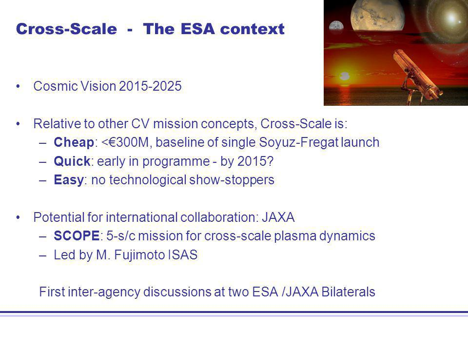 Cross-Scale - The ESA context Cosmic Vision 2015-2025 Relative to other CV mission concepts, Cross-Scale is: –Cheap: <300M, baseline of single Soyuz-Fregat launch –Quick: early in programme - by 2015.