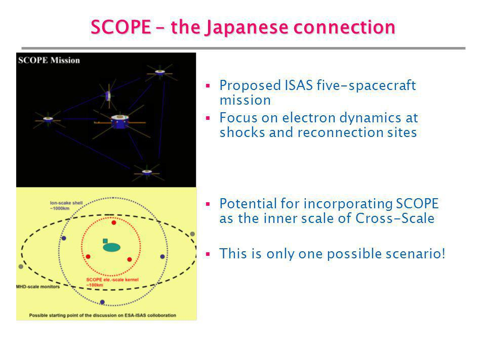 SCOPE – the Japanese connection Proposed ISAS five-spacecraft mission Focus on electron dynamics at shocks and reconnection sites Potential for incorp