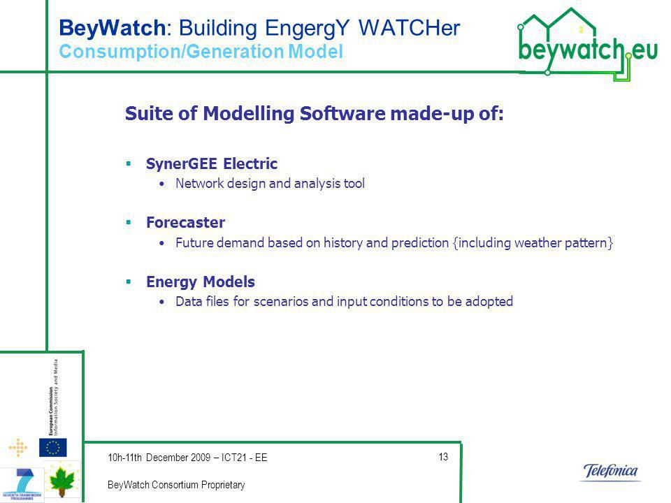 Company s Logo BeyWatch: Building EngergY WATCHer Consumption/Generation Model Suite of Modelling Software made-up of: SynerGEE Electric Network design and analysis tool Forecaster Future demand based on history and prediction {including weather pattern} Energy Models Data files for scenarios and input conditions to be adopted 10h-11th December 2009 – ICT21 - EE BeyWatch Consortium Proprietary 13