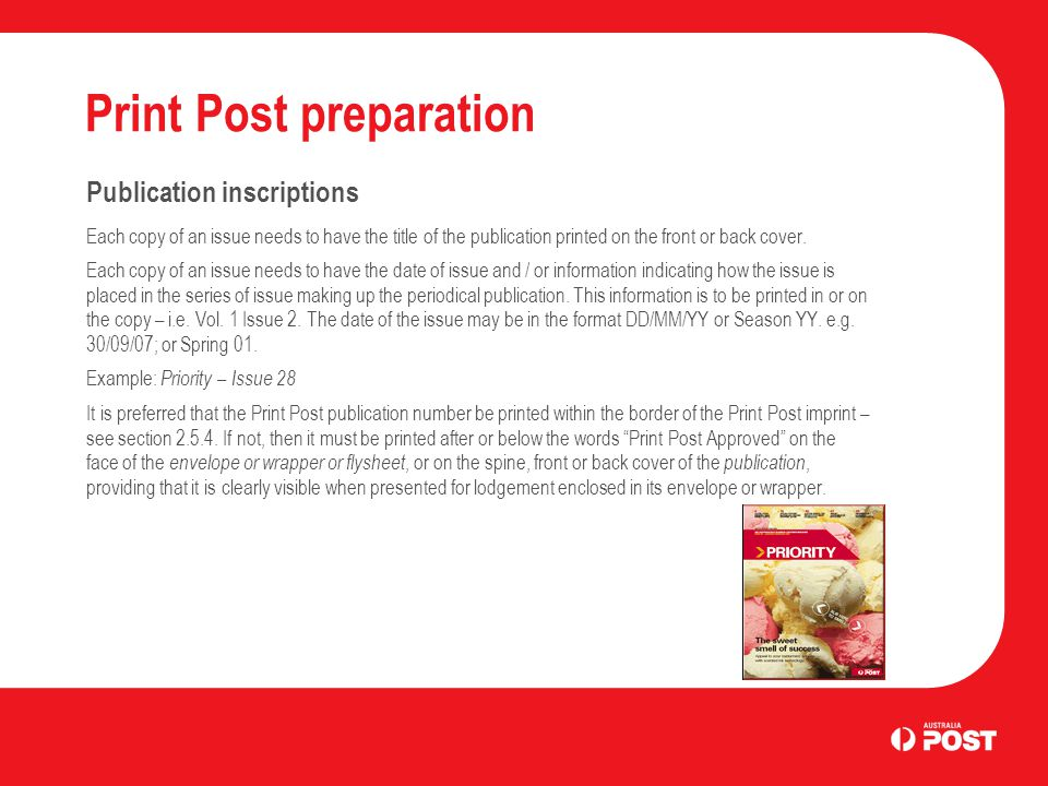 Print Post preparation Publication inscriptions Each copy of an issue needs to have the title of the publication printed on the front or back cover.