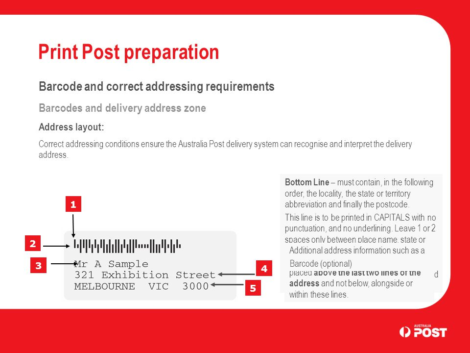 Print Post preparation Barcode and correct addressing requirements Barcodes and delivery address zone Address layout: Correct addressing conditions en