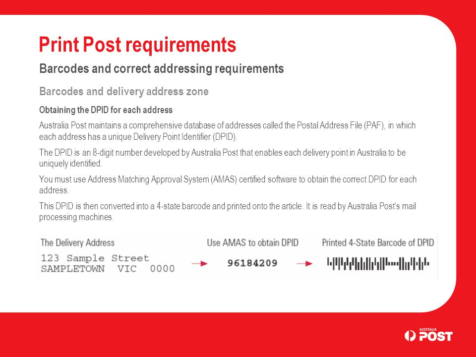 Print Post requirements Barcodes and correct addressing requirements Barcodes and delivery address zone Obtaining the DPID for each address Australia Post maintains a comprehensive database of addresses called the Postal Address File (PAF), in which each address has a unique Delivery Point Identifier (DPID).