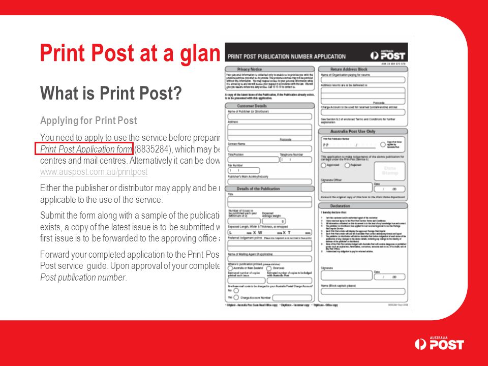 Print Post at a glance What is Print Post.