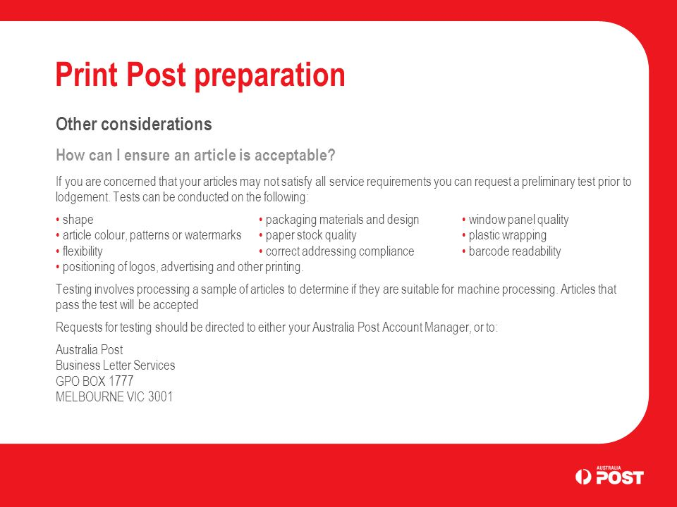 Print Post preparation Other considerations How can I ensure an article is acceptable.